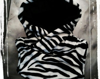 Zebra hooded cowl