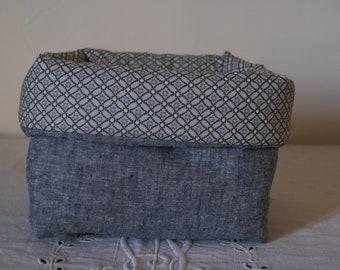 Fabric basket Organizer padded denim and blue diamonds