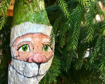 Large Handpainted Driftwood Santa Ornament