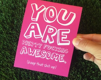 You Are Awesome card / Awesome card / Funny Friendship Card / Card for friend / Card for best friend / Way to go / Funny Thank You Card