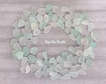 Sea Glass Bulk Genuine Sea Glass Beach Glass Pastel White Sea Glass Jewelry Making Sea Glass Art Wedding Beach Decoration S022 (100)