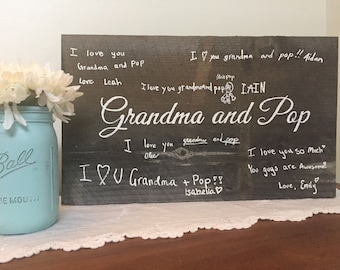Grandparents gift hand painted with kids handwriting
