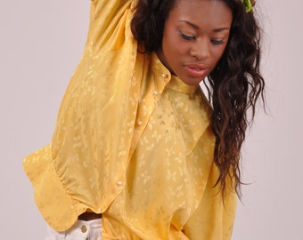 Yellow butterfly // yellow collared vintage blouse, short sleeved, peplum