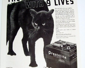 1939 Prest 0 Lite Battery Magazine Page Ad, Garage Decor, Black Cat, Car Truck Battery, Original Print Page, Animal Print, wall art,