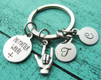 graduation gift, long distance gift keychain, boyfriend gift, for him, husband gift, for her, no matter where gift for him for wife, friend