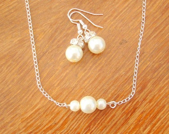 Three Floating Pearls Necklace and Earrings Set -  Bridesmaid Pearl Necklace and Earrings Jewelry Set
