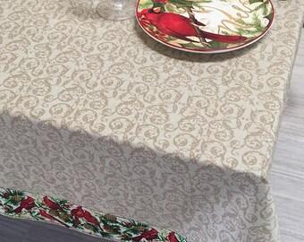 Christmas Tablecloth, Holiday Tablecloth, Cardinal Tablecloth and Napkins Set