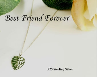 Sterling Silver Best Friend Necklace, Charm Necklace, Best Friend forever Necklace, Best Friend Gift