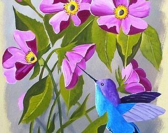 "Original Hummingbird Painting, Maroon Flowers Wall Art, Contemporary, Modern Art, 11.5"" by 10 "" by Michael Hutton"