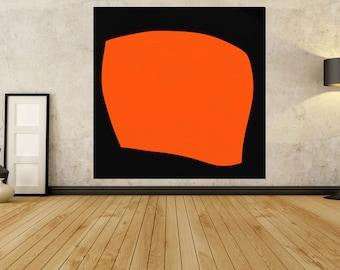 Orange Black Painting Original Artwork Extra Large Abstract Painting, Acrylic Painting Canvas Art Hand Painted Big Minimalist 20 30 40 50 60