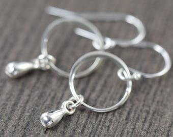 Minimal earrings Teardrop earrings in sterling silver  gifts for her