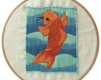 Traditional embroidery kit - Japanese koi