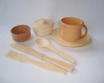 Utensils for kids. Kids utensils set. Play kitchen wood set. Wooden toys.
