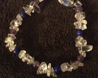 Amethyst, Lapis Lazuli, and Clear Quartz Bracelet