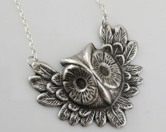 Vintage Necklace - Owl Necklace - Art Deco Necklace - Silver Necklace - Owl Jewelry - Nature Jewelry - handmade jewelry