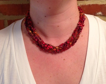 CLEARANCE - Shades of Red Ladder Ribbon Necklace- 20 inches