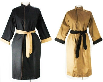 Reversible 1970s Canvas Coat - Size 12 Tan & Black Wrap Front Coat - Two Tone Cotton - Fall Lightweight 60s 70s with Belt - Bust 39 - 48347