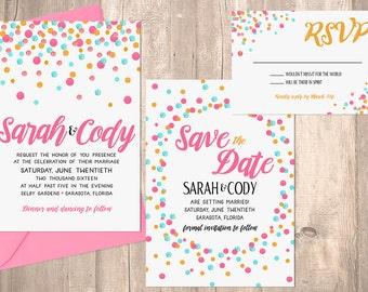 Wedding Invitation, Pink Polka Dot Confetti Wedding Invitation Set- PRINTABLE Invitation Set - Digital Files