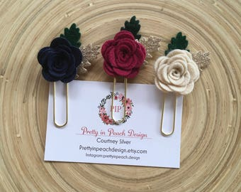 Winter trio floral paperclips