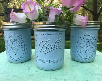 Painted Mason Jars / 3 Wide Mouth Pint Mason Jars / Mason Jar Decor / Rustic Wedding Centerpieces / Country Chic Decor / Baby Shower Decor