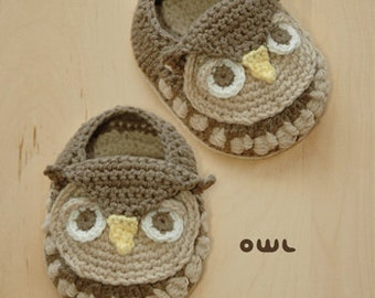 Owl Baby Booties Preemie Socks Animal Shoes Crochet Pattern (OB01-K-PAT)