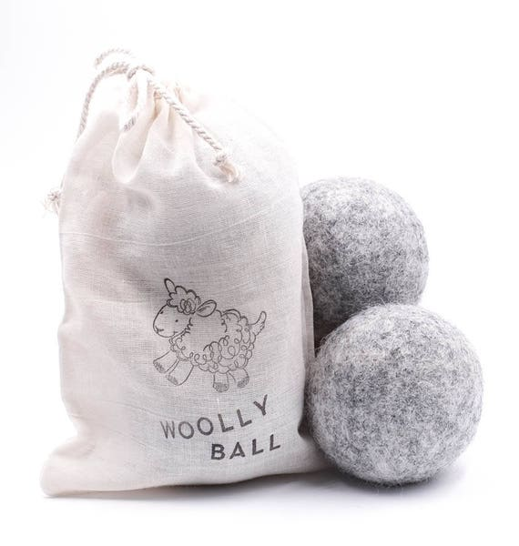 SCENTED DRYER Wooly Balls in Cute Muslin Drawstring Bag | Two Per Bag | Soft Gray | Choose Your Scent | Works Superb!