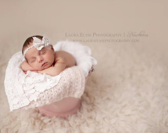 Blanco - Open Halo Headband Wrap Tie Back - White Lace Bow - Newborn Baby Girl Infant Adults - Photo Prop