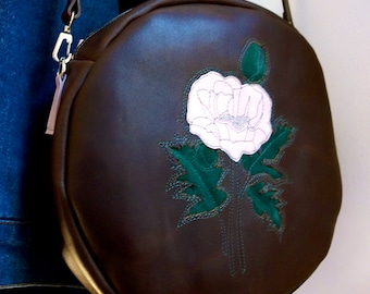 """LEATHER - 10"""" Inlaid dusty pink poppy crossover canteen bag, reclaimed brown leather purse"""