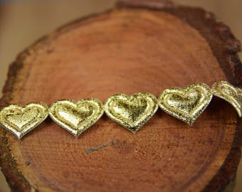 Satin Heart Trim 15mm wide and Metalic Gold Finish