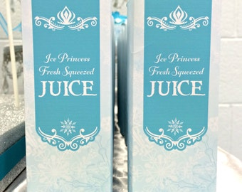 INSTANT DOWNLOAD - DIY printable juice box wrappers by BluGrass Designs - frozen inspired