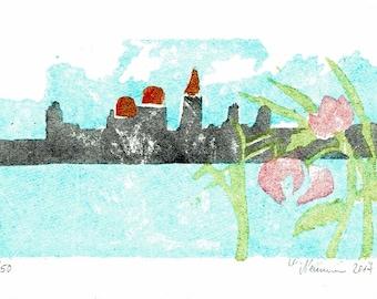 Towers-Venice-nature-woodcut-printing-Woodcut-Moku hanga-Print Graphics-limited edition-original Woodblock print