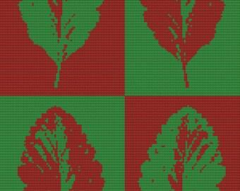 Modern Cross Stitch Kit - Leaves