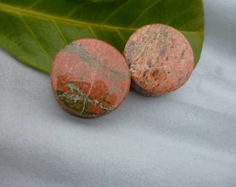 Unakite  Ear Plug 25 mm 19 mm orange and green  stone gem - hypo allergenic  Double Flare