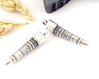 3 pendants ethnic totem 35mm silver plated