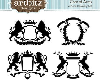 Coat of Arms, Set of 4, No. 20004 Heraldry Clip Art Kit, 300 dpi .jpg and .png, Instant Download!