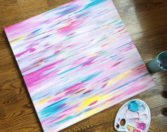 """24"""" x 24"""" ORIGINAL abstract painting, """"Princess"""", Pinks, Teal, and assorted happy streaks"""