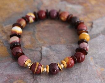 Mookaite Jasper Bracelet, Jasper Jewelry, Bracelet for Her, Energy Bracelet, Gift for Woman