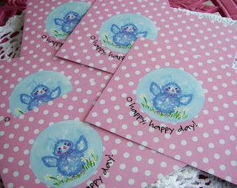 Hand Painted Love Boxes Bluebird Postcard Pack 10