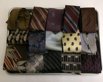 Lot of 15 Neckties Ties Loose Seams Light Stains Creases Repair Clean Wear Reuse Quilts Fabric
