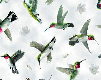 Quilting Treasures - Hummingbirds - Hummingbird in Flight - Lt Gray - Fabric by the Yard 25935-K