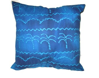 Blue Batik Pillow  Cover Palm Trees Ocean Waves Tropical Beach Flavor