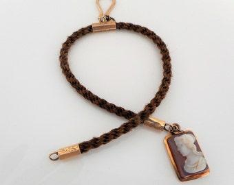 Victorian 9 Carat Gold Albertina Hair Watch Chain With Sardonyx Cameo Pendant Fob. Antique English Chatelaine Memento Mori Mourning Jewelry