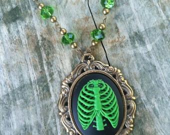 Halloween Necklace Zombie Rib Cage Skeleton Cameo Halloween Jewelry