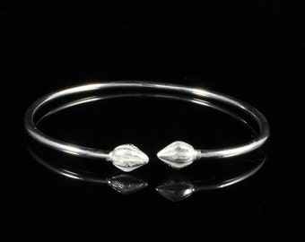 110 West Indian Bangle Plain Bangle with Cocoa Pods Handmade .925 Sterling Silver