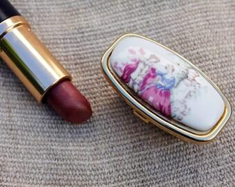 Lipstick Holder, Case Lipstick Holder, Vintage Case, Limoges Porcelain Mirrored lipstick holder, Vintage Accessories, Vintage Jewelry, Case