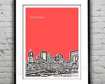 Montreal Poster Art Skyline Print  Quebec Canada
