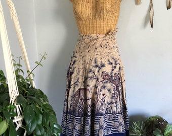 Vintage 70s India Cotton Birds Wrap Hippie Bohemian Festival Midi Skirt S M