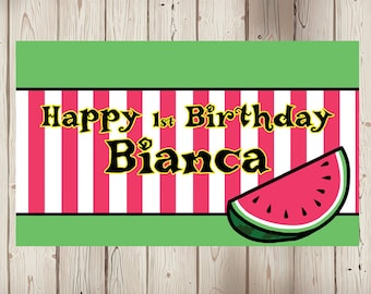 """18""""x30"""" Watermelon Theme Personalized Party Banner   1st Birthday   Pool Party   Baby Shower"""