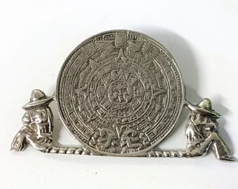 A Lovely Mexican Sterling Silver Aztec Calendar Brooch
