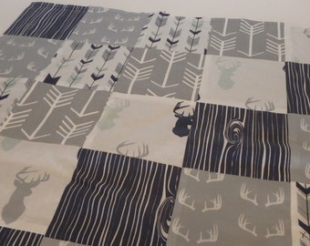 Buck Patchwork Baby Minky Blanket or Quilt (Woodland 3)